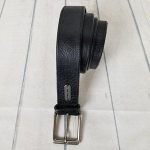 Fossil Leather Belt Sz 40 Black Silver Buckle